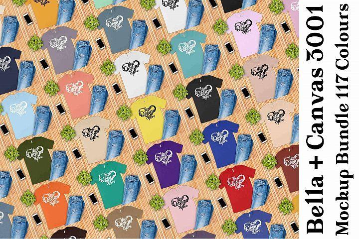 Bella Canvas 3001 Mockup T-Shirt Bundle 117 Colors Womens T-shirt Mockup Bundle Mens Bella Canvas Mock Up Unisex Flatlay