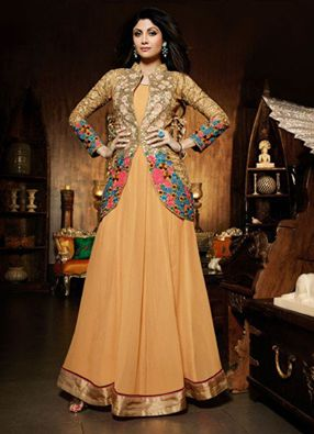 Look out for this mesmerizing #jacketstyle georgette #partywear #anarkali long #dress