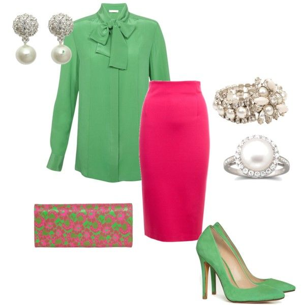 pink and green love, hoping to wear something like this on Sunday.created by shannon-legrand on Polyvore