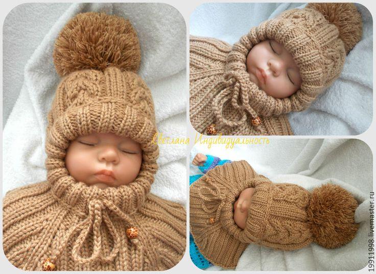 Купить Шапочка-шлем Кофе с молоком - бежевый, однотонный, шапка, шапка вязаная, шапка зимняя
