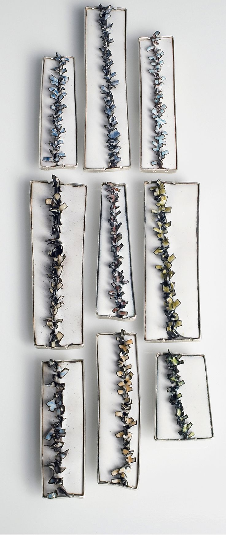 Enamelled jewellery design - contemporary brooches with metal fringe detail; art jewelry // Kate Cathey