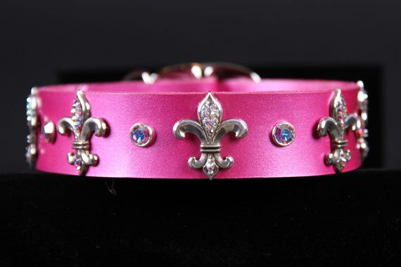 Raspberry Pearl Leather Dog Collar with Fleur De by JustForBella, $115.00