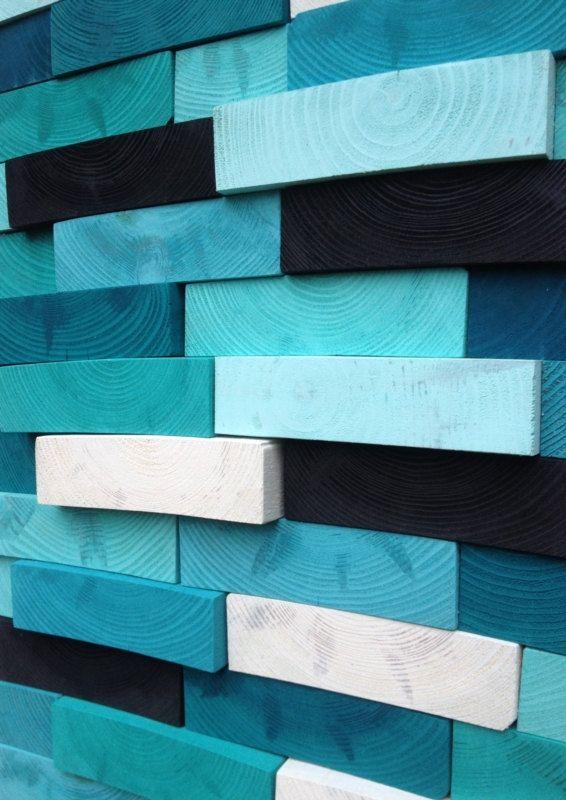 Modern Art bois récupéré - mur Sculpture abstraite peinture sur bois