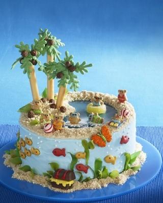 This is great!!! teddy grahams, goldfish crackers, graham cracker sand, pretzel rods for the tree trunks.
