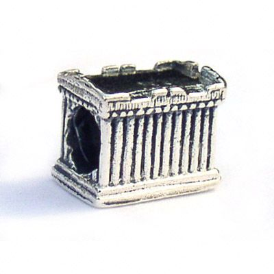 The Greek Parthenon Landmark Bead in Sterling Silver is three dimensional and is a wonderful reminder of a trip to Greece. Makes great gifts