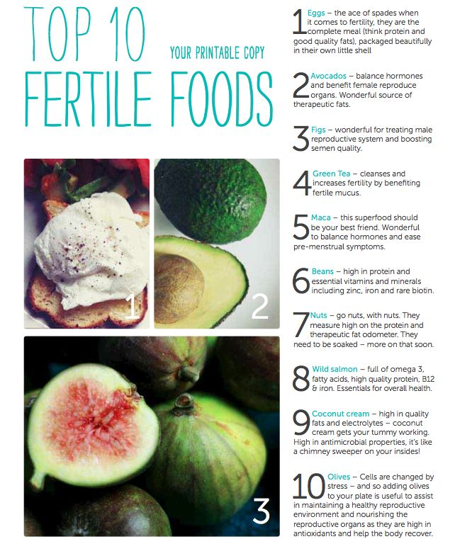 Handy Fertility Food Printable