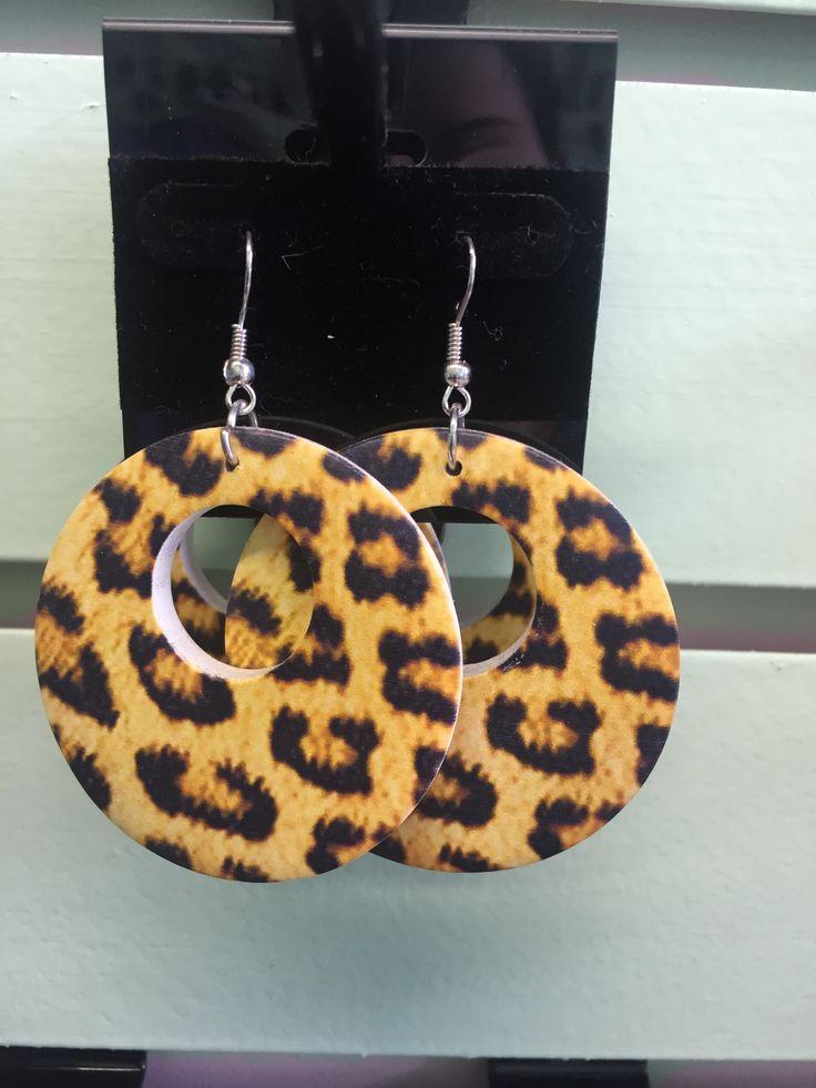Yellow circle animal print earrings