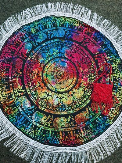 Colored FringedRound Beach Mat | Psychedelic Monk