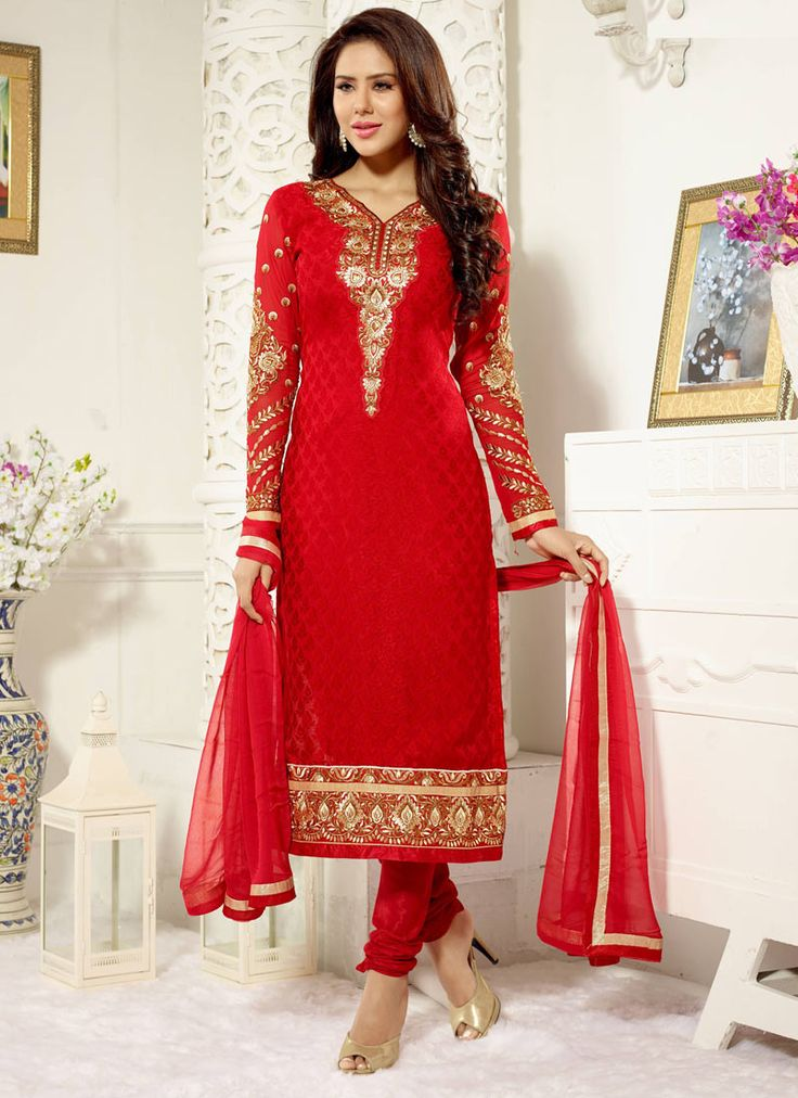 Red Brasso Straight Suit