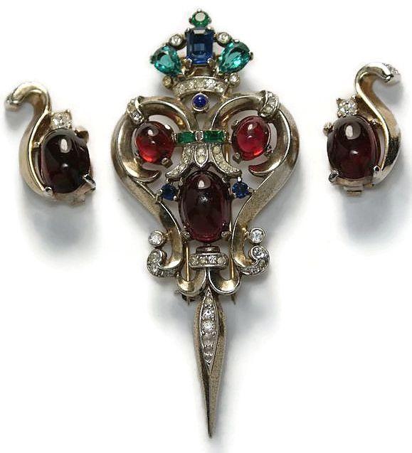 Trifari Sterling Talisman Pin Brooch Earrings Set 1940s from luminousbijoux on Ruby Lane