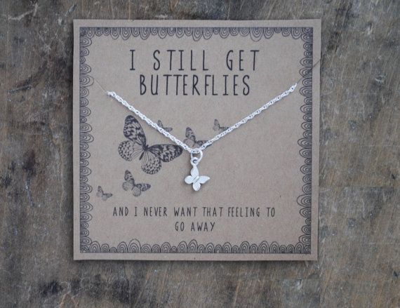{ I still get butterflies . butterfly charm necklace }  for your true love who still gives you butterflies . for layering . for your girlfriend