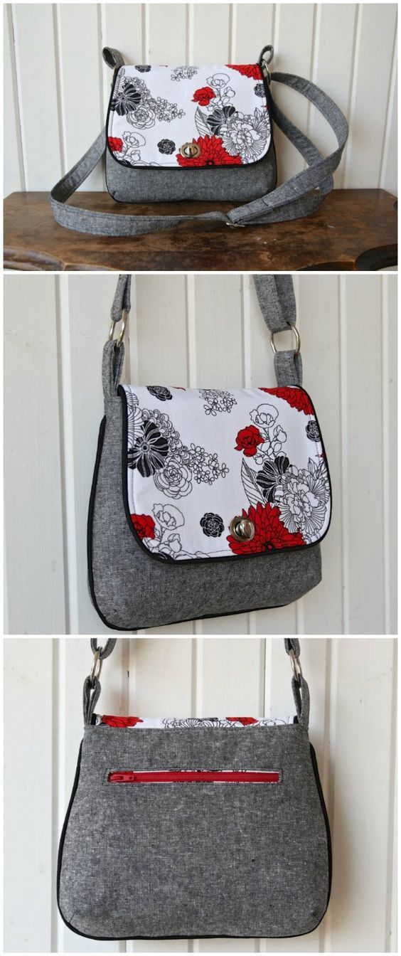 Mini Messenger Bag - free sewing pattern. One of my favorite bags. Great size, looks great, love the piping, and of course, it's a free sewing pattern too.