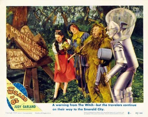 Judy Garland, Ray Bolger, Jack Haley, and Bert Lahr in The Wizard of Oz (1939)