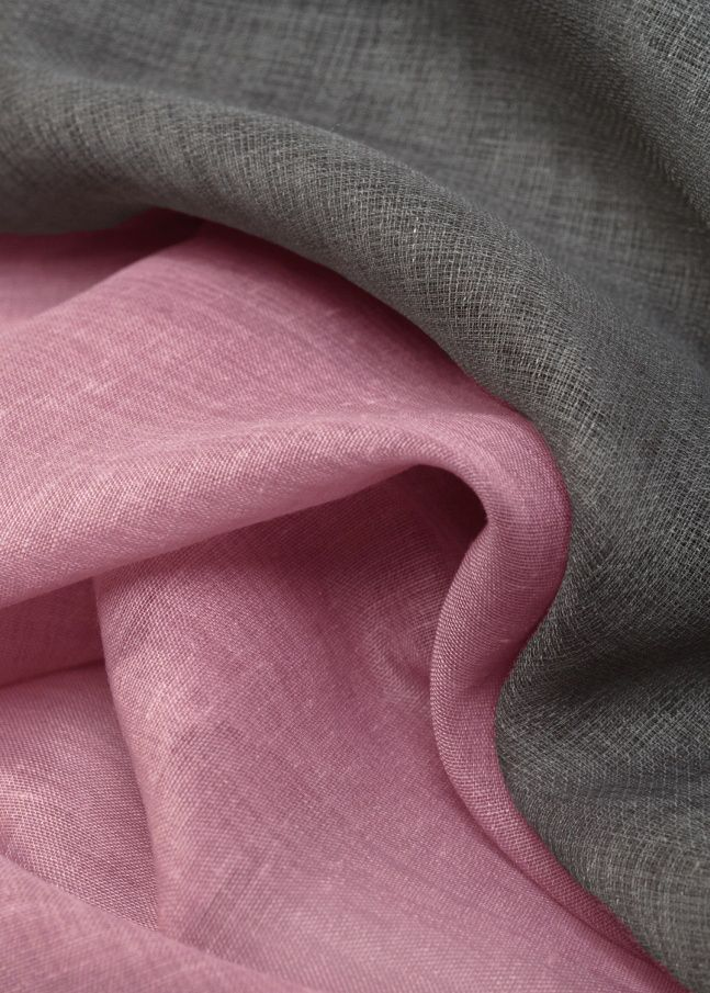 linen fabric in pink and grey