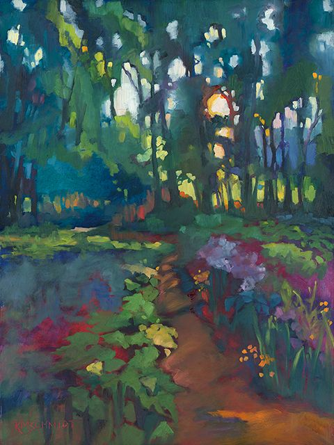 A Walk After Breakfast original fauve impressionist oil painting of Louisiana woodland landscape • loose, painterly illustration of sunlight through trees, a path in the woods