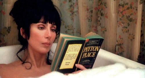 "Cher reading Peyton Place in the bathtub- from ""Mermaids"" (1990)."