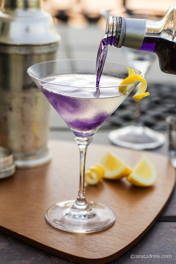 The Aviation: A purple cocktail using gin, lemon juice, Crème de Violette, maraschino liqueur and simple syrup. YUM!