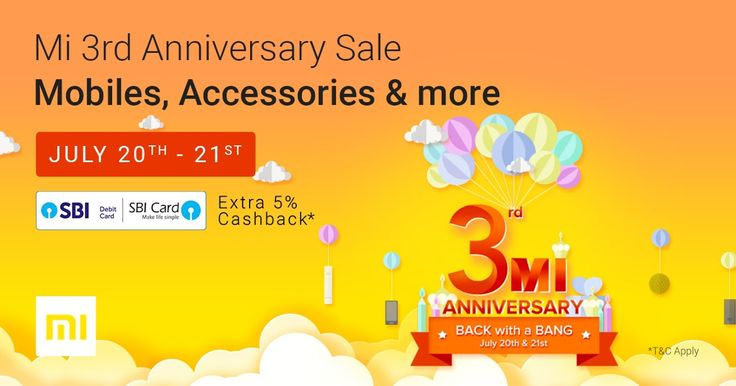 """Xiaomi 3rd Anniversary presented by Flipkart 20th to 21st July 2017  Xiaomi 3rd Anniversary presented by Flipkart 20th to 21st July 2017  Enter in in Flipkart for Xiaomi 3rd Anniversary at http://fkrt.it/uMVsI!NNNN  State Bank of India: Terms & Conditionsfor Xiaomi 3rd Anniversary  Terms and Conditions  This marketing program (""""Program"""") is from State Bank of India (""""Bank"""") and SBI Card & Payment Services Private Ltd. (""""SBICPSL"""") under an arrangement with Flipkart India Pvt. Ltd; It is open…"""