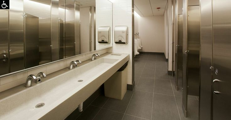 Concrete trough sinks for the public restroom design - Commercial bathroom code requirements ...