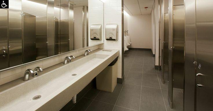 Public Bathroom Sink : Concrete Trough Sinks for The Public Restroom office toilet design ...
