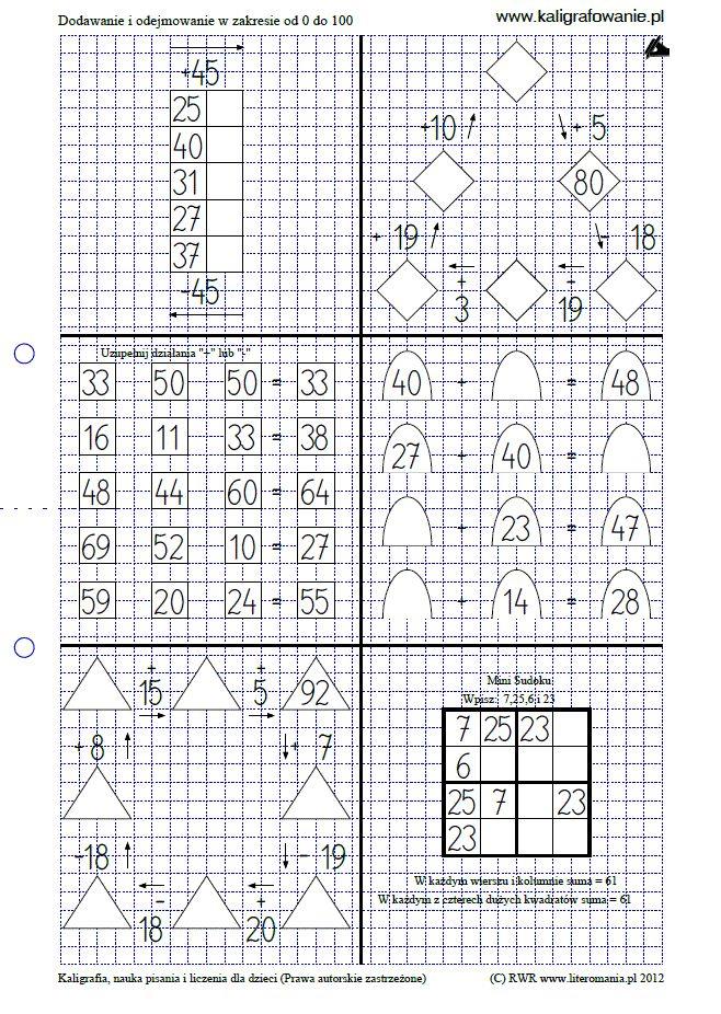 Dodawanie i odejmowanie w zakresie od 0 do 100 | Kaligrafia, nauka pisania dla dzieci, szablony do nauki pisania liter do wydruku, szlaczki, sudoku, rysowanie, nauka liczenia