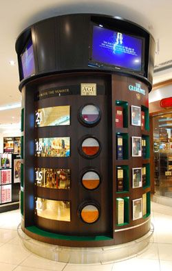Glenlivet created a display with touch screens providing videos and information on the importance of the aging process of their product. Product is also housed on structure.