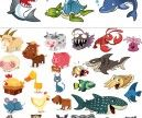 4 Sets of vector funny cartoon animals illustrations such as hippo, giraffe, monkey, rhinoceros, crocodile, camel, penguin, dog, zebra, birds, fox, rabbit, pig, hedgehog, lion, butterfly, duck, gorilla, elephant, bear, seal, cheetah, toucan, parrot, bull, a tiger, a flamingo. Format:…