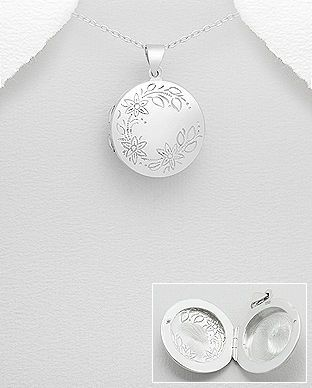 Medalion rotund care se deschide din argint gravat flori 17-1-i4987 | SilverZone.ro