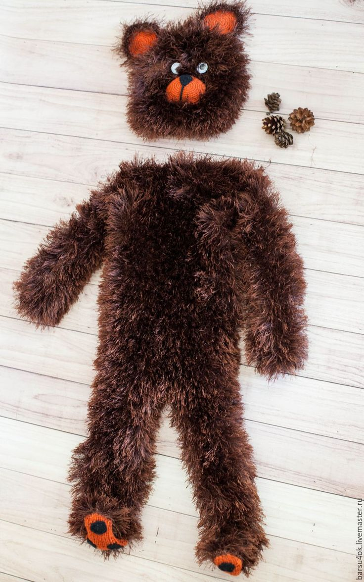 Купить костюм медведя - коричневый, однотонный, костюм медведя, медвежонок, карнавальный костюм, пряжа травка