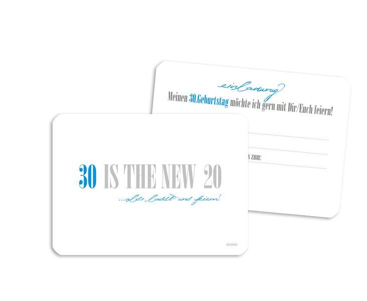 Einladung 30 Geburtstag Spruch Blau 10x