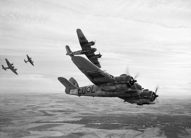 Royal Canadian Air Force Bristol Beaufighter TF.Xs (NV427 'EO-L' nearest) of No. 404 Squadron RCAF based at Dallachy, Morayshire (UK), breaking formation during a flight along the Scottish coast.
