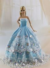 Blue Fashion Princess Party Dress/Evening Clothes/Gown For Barbie Doll S209