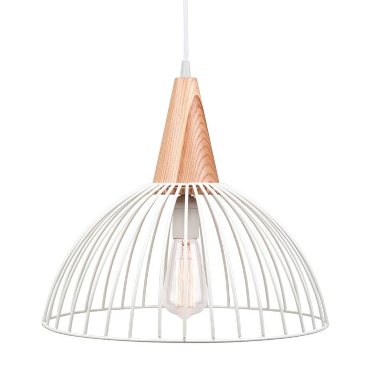 Cult Living Malmö Dome Cage Light With Wooden Bulb Holder - White