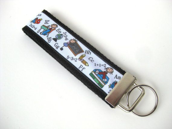 Teacher Gift Under 10- Thank You Gift- Teacher Keychain https://www.etsy.com/ca/listing/277699012/teacher-gift-under-10-wristlet-key-fob