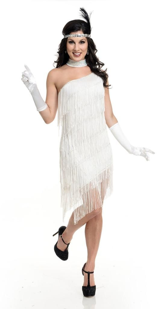 Classic Flapper Costume - includes white fringe, one shoulder dress with clear, removable strap. FYI photo does not show it, however there is gold sequin trim on top edge of dress.