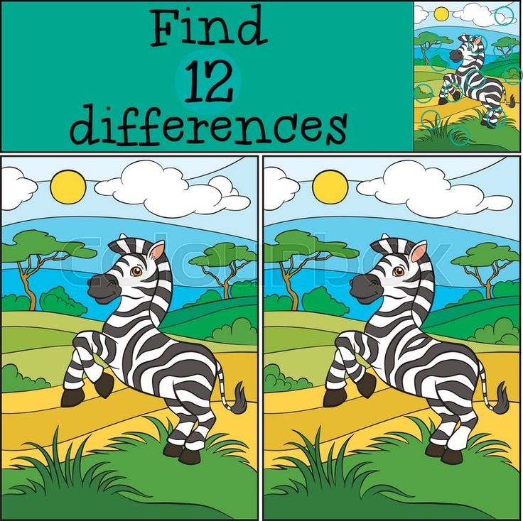 Stock vector of 'Children games: Find differences. Cute little zebra stands on the field and smiles.'