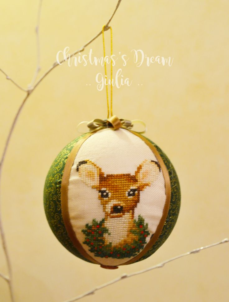 Christmas ball cross stitch :) deer! handmade