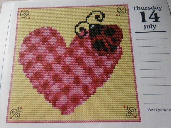 Unframed Handmade Calendar Hearts Cross by CustomCraftJewelry