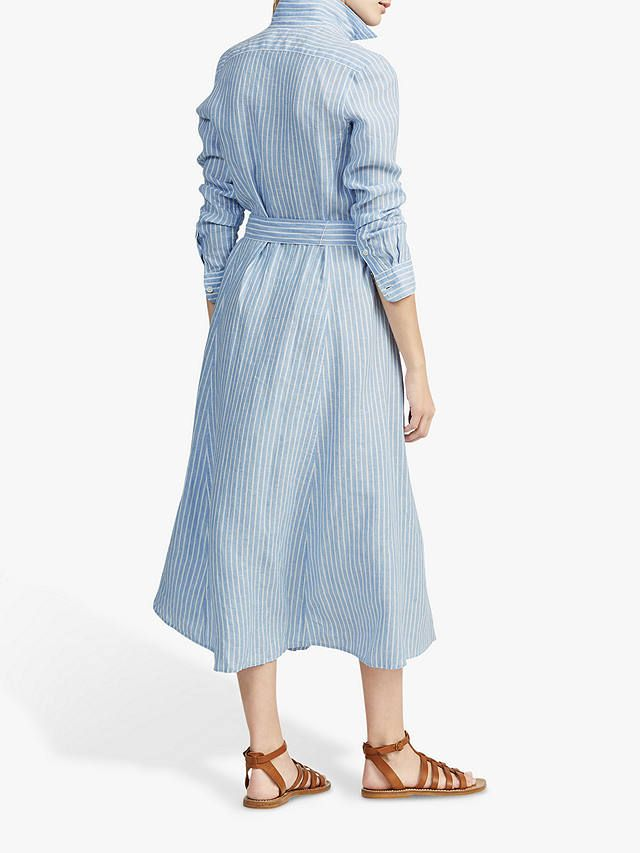 Polo Ralph Lauren Linen Stripe Midi Shirt Dress, BlueWhite