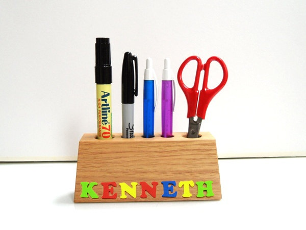 cute for a kid's desk.....Colourful, Personalized Hand-crafted Wood Pencils / Pens / Crayons Holder - Alphabet / Name - Solid Oak - Make to Order. $13.50, via Etsy.