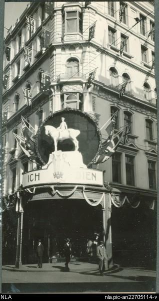 David Jones building in Sydney decorated for the visit of H.R.H. the Prince of Wales, June - July 1920