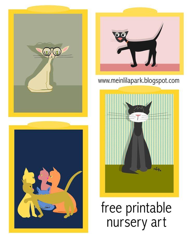 5+ free printable nursery wall art cats - ausdruckbare Kinderzimmer-Bilder - freebie | MeinLilaPark – DIY printables and downloads