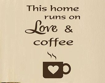 Palabra café arte cocina pared calcomanía por RoyceLaneCreations