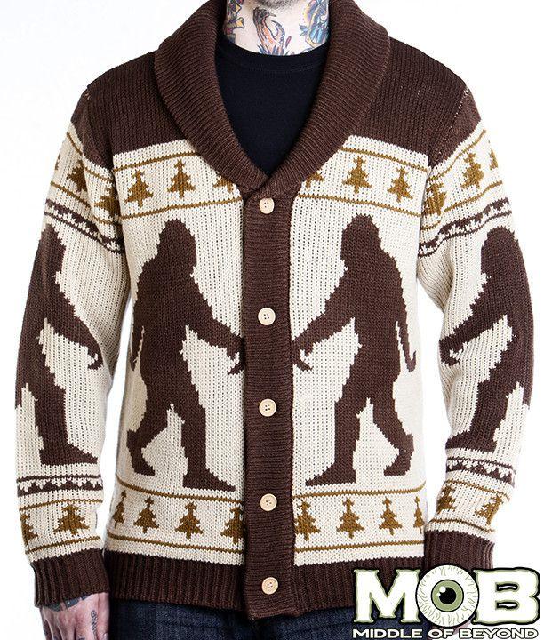 Bigfoot Sasquatch Knit Cardigan