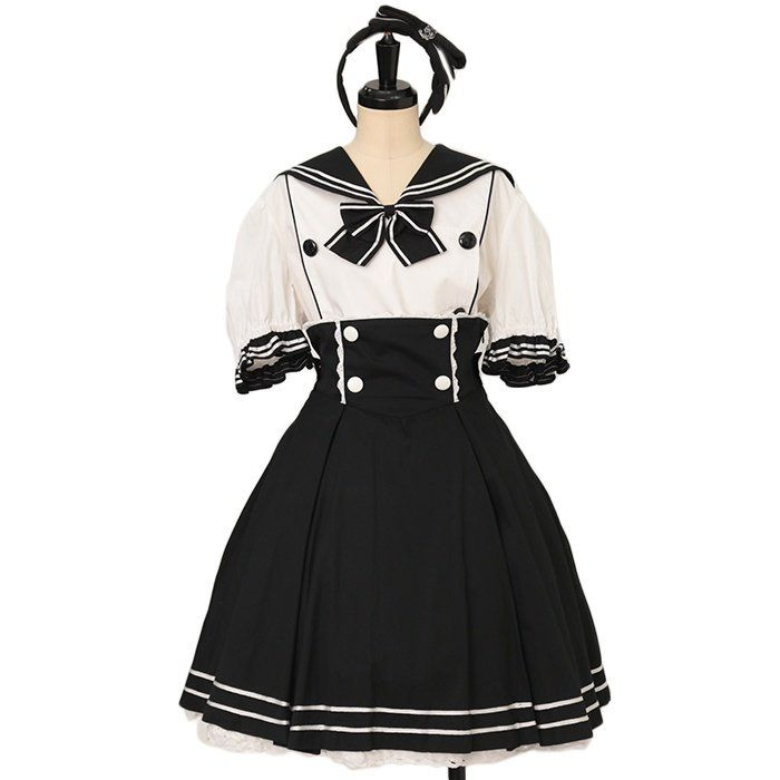 Sailor double button blouse + sailor skirt + headband set  metamorphose  https://www.wunderwelt.jp/en/products/w-27240    Worldwide shipping available ♪   How to order ↓  https://www.wunderwelt.jp/en/shopping_guide  * Japanese online shop for second-hand Lolita Fashion *Wunderwelt *
