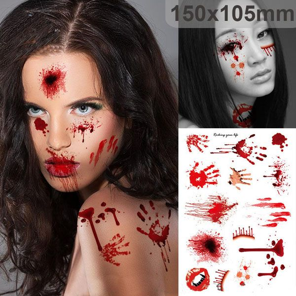 Wholesale price + Free shipping Halloween Supplies Scab Bloody Makeup Zombie Tattoos  Terror Wound Scary Bloody Sticker . GET IT NOW! https://www.gekaz.com/product/halloween-supplies-scab-bloody-makeup-zombie-tattoos-terror-wound-scary-bloody-sticker-2/