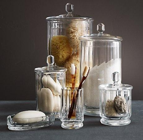 Glass jars restoration hardware pinterest jars for Bathroom accessories jars