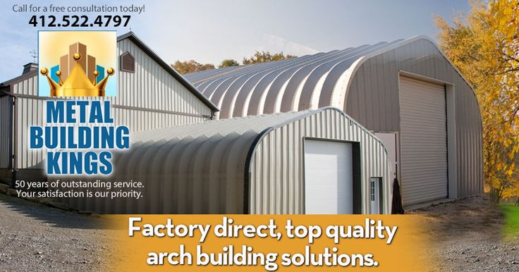 Metal Building Kings has 50 years experience manufacturing and selling the highest quality metal garage kits and steel arch buildings in America. Call today 412-522-4797