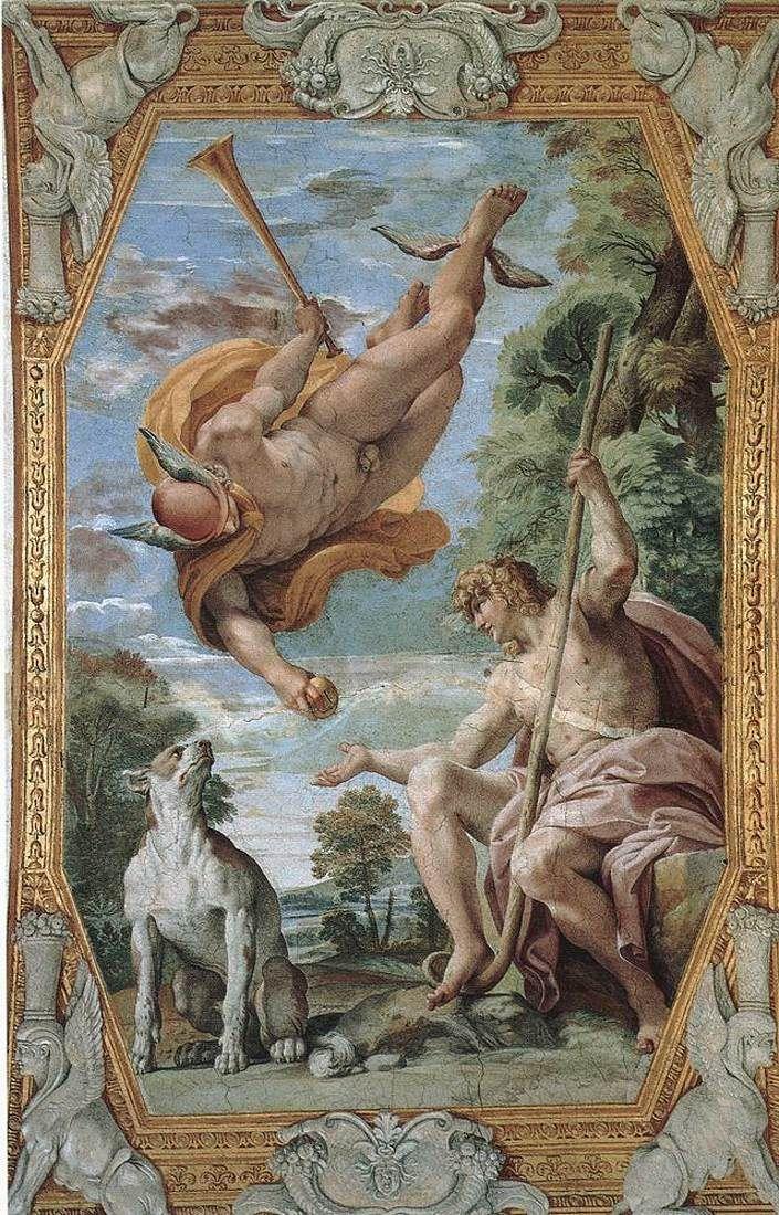 Mercury and Paris , by Annibale Carracci, 1597-1602, Fresco, Palazzo Farnese