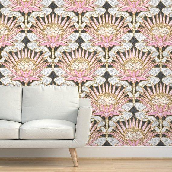 Floral Wallpaper Blush King Protea Art Deco Slate By Etsy In 2020 Floral Wallpaper Protea Art Art Deco Wallpaper